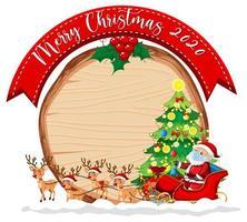 leeres Holzbrett mit Frohe Weihnachten 2020 Schriftlogo und Weihnachtsmann auf Schlitten und seinen Rentieren