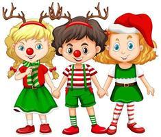 barn som bär renhuvudband och röd näsa juldräkt vektor