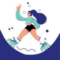 söt tecknad flicka rullskridskoåkning och ger fredstecken vektor