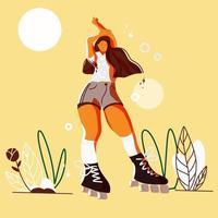 söt tecknad flicka poserar på rullskridskor vektor