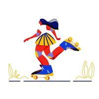 söt tecknad flicka rullskridskoåkning vektor