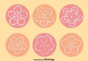 Hand gezeichnet Peach Blossom Vektoren