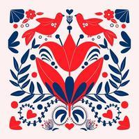 Skandinavisches buntes Blumenmuster der Volkskunst mit Vögeln