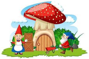 Karikaturstil der Zwerge und des Pilzhauses auf weißem Hintergrund