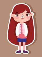 tecknad karaktär liten flicka klistermärke vektor