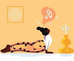 flicka som tränar yoga vektor