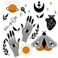 handgezeichnete magische Gegenstände und Elemente gesetzt vektor