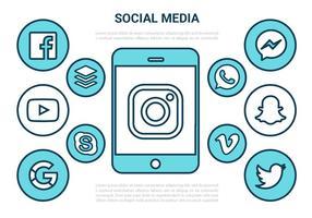 Freie Wohnung Social Media-Vektor-Icons vektor