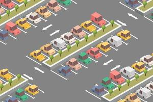 isometrisches Design des Parkplatzes vektor