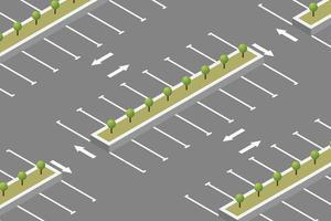 isometrisches Design für leere Parkplätze vektor
