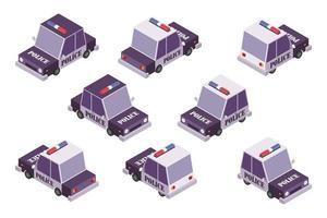 Polizeiauto isometrisches Design-Set vektor