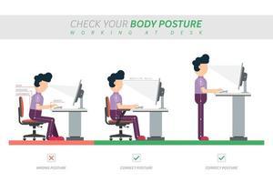 ergonomisk hållning av att sitta vid skrivbordet infographic