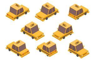 isometrisches Taxi Autoset vektor