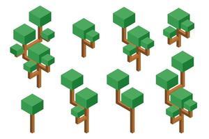 isometrisk träduppsättning vektor