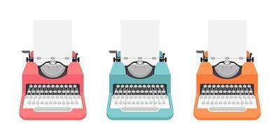 Vintage Schreibmaschinen in verschiedenen Farben eingestellt vektor