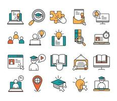 Online-Bildung Icon Set
