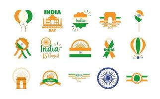 Indien självständighetsdagen Ikonuppsättning vektor