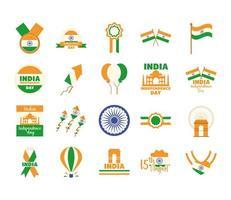 Indien Unabhängigkeitstag Icon Set vektor