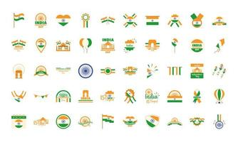 Indien Unabhängigkeitstag Icon Set