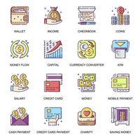 penninghantering, platta ikoner set