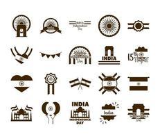 Indien självständighetsdagen Ikonuppsättning