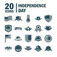 usa självständighetsdagen silhuett ikonuppsättning vektor