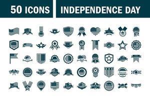 USA Unabhängigkeitstag Silhouette Icon Set vektor