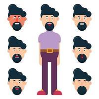 männlicher Charakter mit unterschiedlichen Gesichtsgefühlen eingestellt