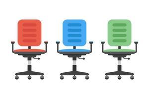 Bürostuhl in verschiedenen Farben eingestellt
