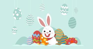 kanin med dekorerade ägg påsk banner vektor