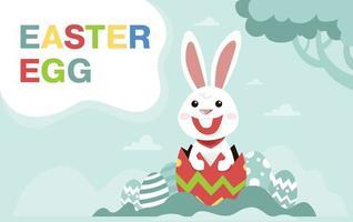 påsk banner med kanin i trasigt ägg vektor
