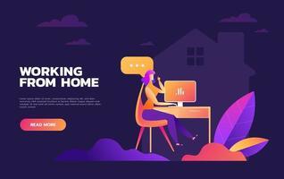Arbeiten von zu Hause aus Design vektor