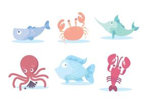 Colorful Seafood Vector