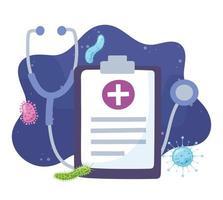 Stethoskop und medizinische Zwischenablage mit Viren und Bakterien
