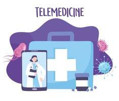 online medicinsk vård med läkare på smarttelefonen vektor