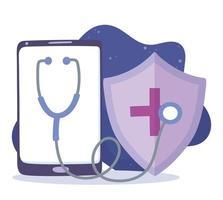 online medicinsk vård via smartphone vektor
