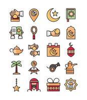 eid mubarak islamisk firande ikonuppsättning vektor