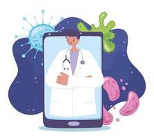 Online-medizinische Versorgung mit Arzt auf dem Smartphone