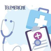 Telemedizin-Schriftzug und medizinische Ausrüstung