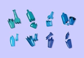 Blau zerbrochene Flasche Free Vector