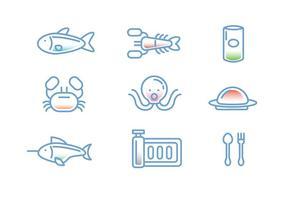 Fisk och skaldjur Linear Ikon vektorer