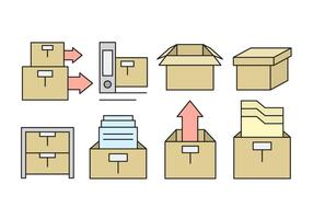 Linear Office-Storage Box Icons