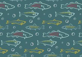 Handritad fisk mönster vektor