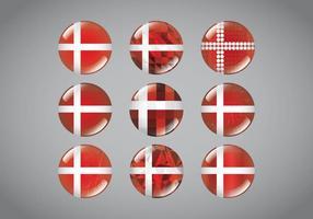 Button Pins Dänische Flagge vektor