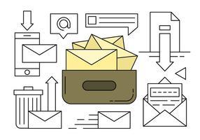 Linear Insamling av post och meddelande ikoner vektor