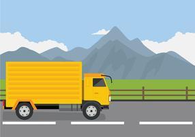 Camion På Vägen Gratis Vektor