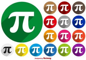 Färgglada Vector Pi Symbol Buttons Collection