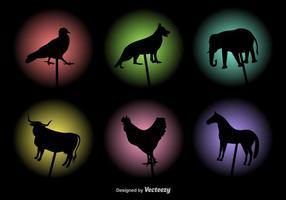 Vektor Schatten Marionetten Tiere Silhouetten Set