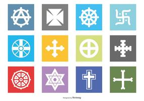Religiöst symbol Icon Set vektor