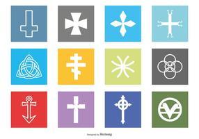 Religiöse Symbole Icon Set vektor